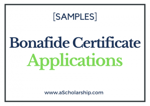 Application for Bonafide Certificate Samples