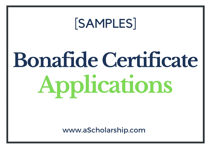 Application for Bonafide Certificate Samples